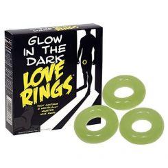 Pack de 3 anillos para el pene que brillan en la oscuridad