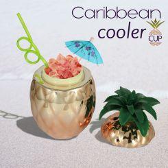 Copa cocktail Piña en oro rosado con pajita