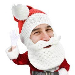 Gorro con barba y bigote Papá Noel clásico