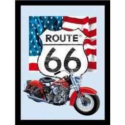 Espejo Ruta 66 modelo Harley Bandera