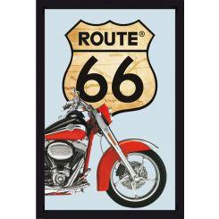 Espejo Ruta 66 modelo Harley roja