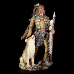 Figura Indio Americano Lobo con Búfalo