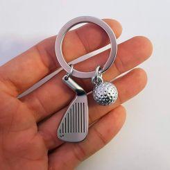 Llavero Premium de metal, Hierro 5 y Bola de Golf