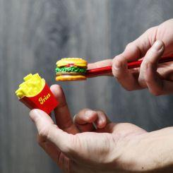 Goma y sacapuntas hamburguesa con patatas