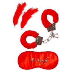 Kit Fantasía con antifaz, esposas y plumas rojas