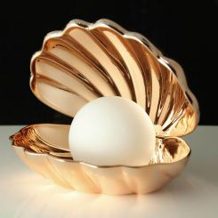 Lámpara ambiental Almeja con perla que cambia de color