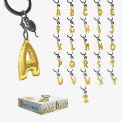 Llaveros Premium con letras en forma de Globo de Helio y mini charm plateado