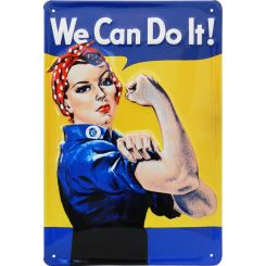 Placa decorativa de metal We can do it!