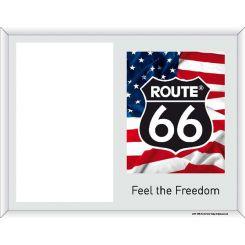 Portafoto de La Ruta 66 escudo con bandera