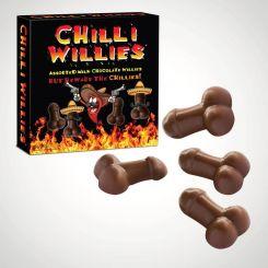 Chocolate belga chilli willies con forma de pene. Contiene 4 normales y 4 picantes