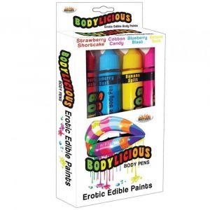 Bodylicious, rotuladores con pintura corporal comestible, de distintos sabores