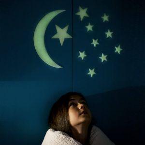 Set Luna y 12 estrellas que brillan en la oscuridad