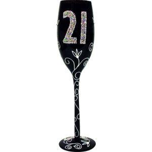 Copa de champagne color negro de 21 años