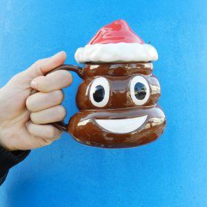 Taza emoticono Caca Noel