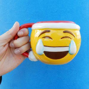 Taza emoticono Llorando de risa Navidad