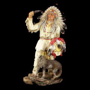 Figura Indio Americano con lobo cuchillo y escudo