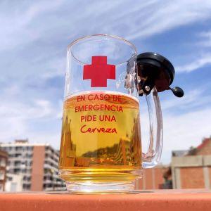 Jarra de cerveza para emergencias con timbre