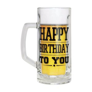 Jarra de Cerveza de cristal grueso Happy Birthday To You