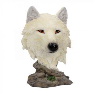Figura lobo Snow Searcher pintada a mano 16cm
