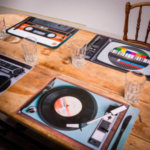 Set de 4 manteles individuales Retro Hi-Fi