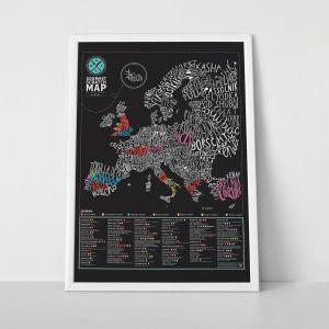 Póster Mapa para rascar Gourmets Europa