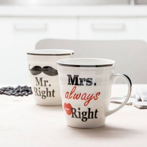 Set de 2 tazas Mr Right & Mrs Always Right, para parejas