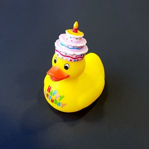 Patito de Goma 10cm Happy Birthday