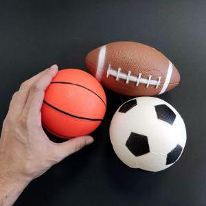 Set 3 pelotas de goma, fútbol, basket y fútbol americano