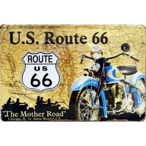 "Placa de metal US Ruta 66 ""The Mother Road"""