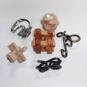 Set de 6 Rompecabezas de madera y metal