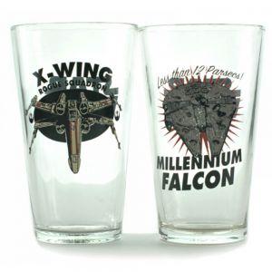 Set 2 vasos Halcón Milenario y X-Wing escuadrón Rogue - Star Wars