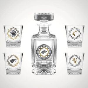 Set Premium Botella y 4 vasos de Juego de Tronos