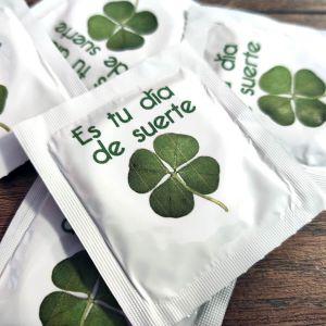Condón, preservativo Es tu día de Suerte trébol de cuatro hojas