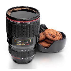 Taza objetivo de cámara de color negro