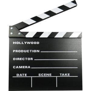 Claqueta de cine de madera pequeña (22 x 18 cm)