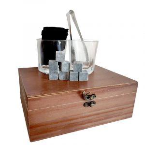 Set Whisky en caja de madera, 2 vasos, pinzas y piedras para enfriar