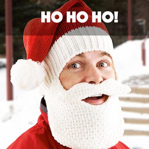 Gorro con barba y bigote Papá Noel